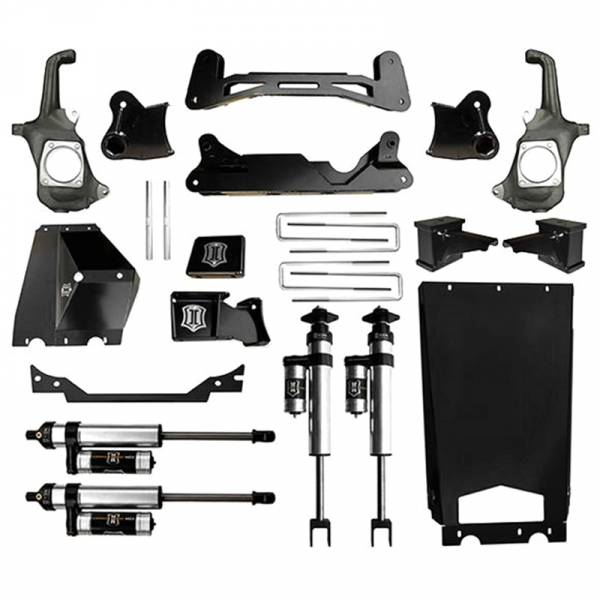 """Icon Vehicle Dynamics - Icon K78302 Stage 2 6""""-8"""" Front and Rear Lifted Suspension Lift Kit for Chevy Silverado and GMC Sierra 2500 HD/3500 HD 2011-2016"""