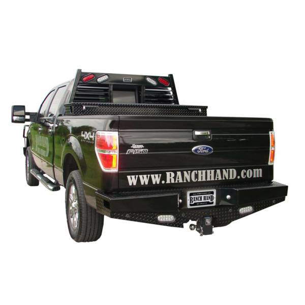 Ranch Hand - Ranch Hand SBF09HBLSL Sport Rear Bumper with Lights and Sensor Holes for Ford F150 2009-2014