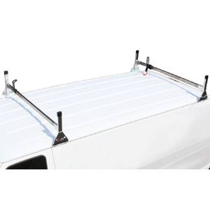 "Vantech - Vantech H3321W White 2 Bar 8"" wide Base System with A03 Side supports White Aluminum Nissan NV (2011-2012)"