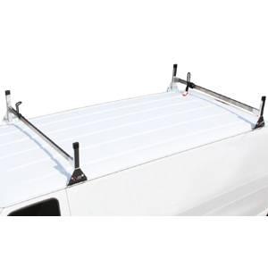 """Vantech - Vantech H3325W White 2 Bar 4"""" low profile with Rubber Bar end White Aluminum Nissan NV (2011-2012)"""