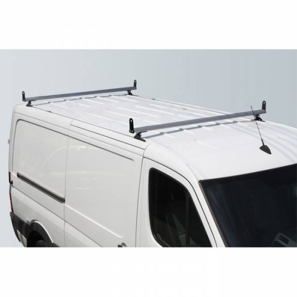 "Vantech - Vantech H3311W White 2 Bar 8"" wide Base System with A03 Side supports White Steel & Aluminum Dodge Sprinter w/ track 2007-2012"
