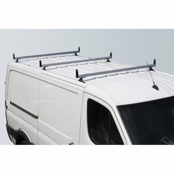 "Vantech - Vantech H3312W White 3 Bar 8"" wide Base System with A03 Side supports White Steel & Aluminum Dodge Sprinter w/ track 2007-2012"