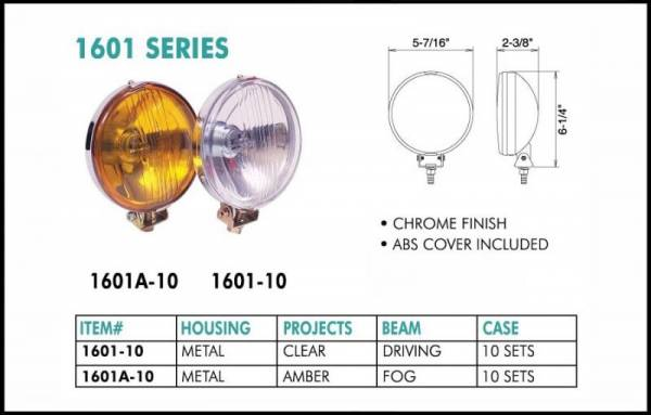 "Eagle Eye Lights - Eagle Eye Lights 1601A-2010 5-7/16"" Chrome 12V 100W Fog Amber Round Slim Off Road Light with ABS Cover Set"