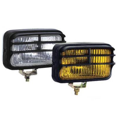 "Eagle Eye Lights - Eagle Eye Lights 1612QHC 6-1/8"" Chrome 12V 55W Driving Clear Rectangular Off Road Light with Grille Guard Set"