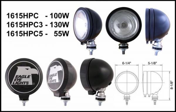 "Eagle Eye Lights - Eagle Eye Lights 1615HPC 6"" Black 12V 100W Spot Clear Round Halogen Off Road Light with ABS Cover Each"
