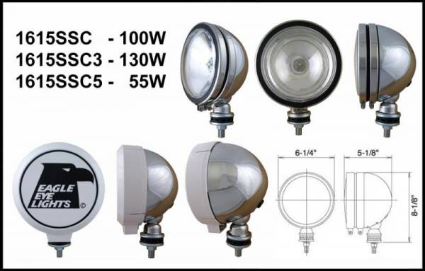"Eagle Eye Lights - Eagle Eye Lights 1615SSC5 6"" Stainless 12V 55W Spot Clear Round Halogen Off Road Light with ABS Cover Each"