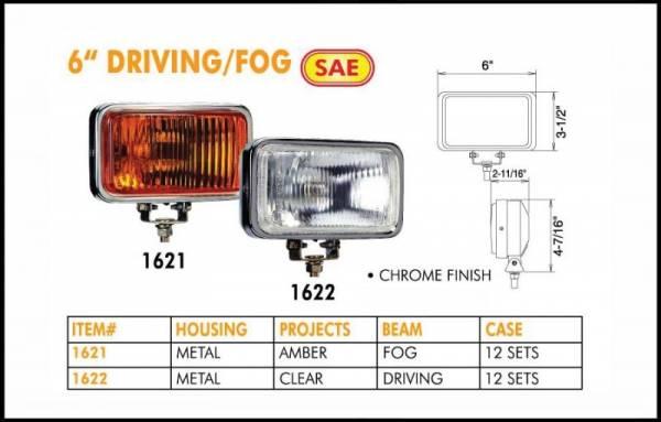 """Eagle Eye Lights - Eagle Eye Lights 1622 6"""" Chrome 12V 55W Fog Clear Rectangular Halogen Off Road Light with 320A Wiring Set"""
