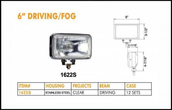 "Eagle Eye Lights - Eagle Eye Lights 1622S 6"" Stainless Steel 12V 55W Fog Clear Rectangular Halogen Off Road Light with 320A Wiring Set"