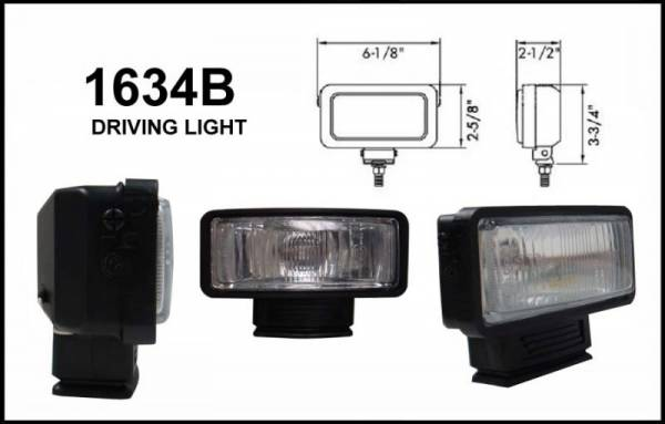 "Eagle Eye Lights - Eagle Eye Lights 1634B 6 1/8"" Black Resin 12V 55W Driving Rectangular Halogen Auxiliary Light with HI-Impact Flip Cover 320A Wiring Set"