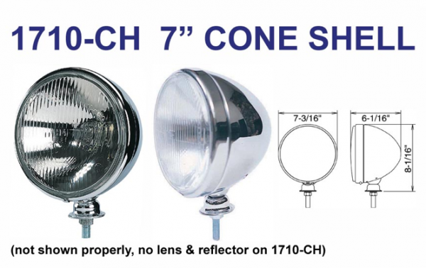 "Eagle Eye Lights - Eagle Eye Lights 1710-CH 7 3/16"" Chrome CONE HOUSING Only Bulb Not Included - Uses Sealed Beam H6024 Set"