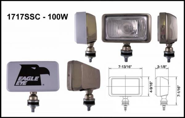 "Eagle Eye Lights - Eagle Eye Lights 1717SSC 7 13/16"" Stainless Steel 12V 100W Driving Clear Rectangular Halogen Off Road Light with ABS Cover Each"