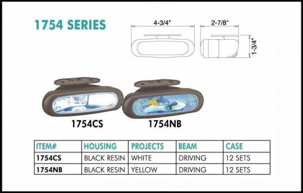 "Eagle Eye Lights - Eagle Eye Lights 1754CS 4 3/4"" Black Resin Driving Clear Oval Halogen Light with 320A Wiring Set"