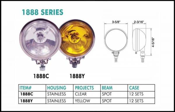 "Eagle Eye Lights - Eagle Eye Lights 1888Y 3 5/8"" Stainless Steel 12V 55W Spot Yellow Round Halogen Off Road Light Set"