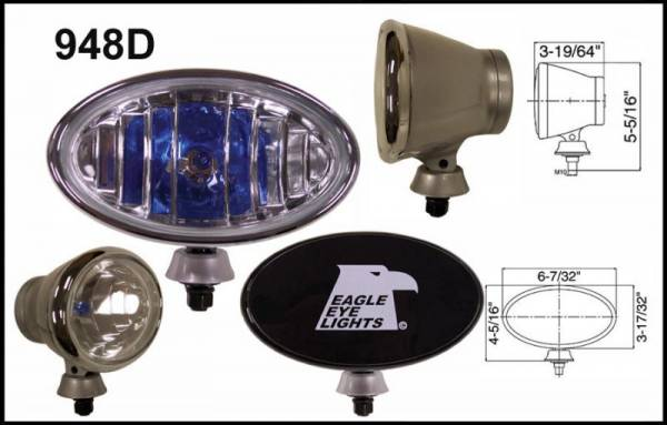 "Eagle Eye Lights - Eagle Eye Lights 948D 6 7/32"" Aluminum DieCast SILVER 12V 100W Superwhite Driving Clear Oval Halogen Off Road Light with ABS Cover Set"