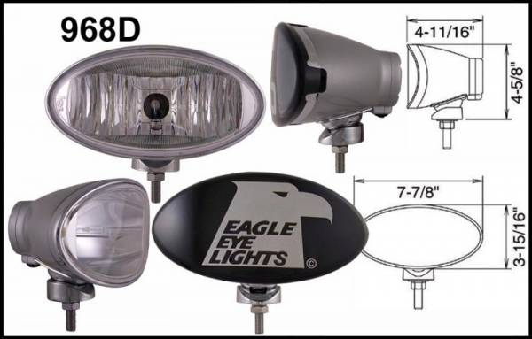 "Eagle Eye Lights - Eagle Eye Lights 968D Silver 8"" Aluminum DieCast 12V 100W Superwhite Driving Clear Oval Halogen Off Road Light with ABS Cover Set"