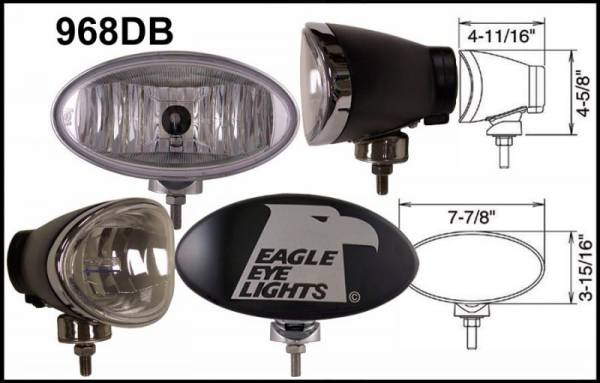 "Eagle Eye Lights - Eagle Eye Lights 968DB Black 8"" Aluminum DieCast 12V 100W Superwhite Driving Clear Oval Halogen Off Road Light with ABS Cover Set"