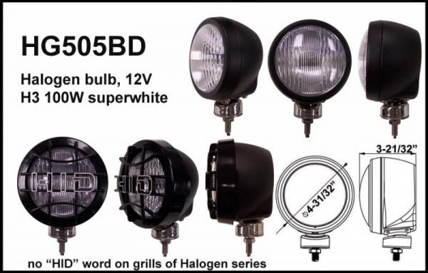 "Eagle Eye Lights - Eagle Eye Lights HG505BD 4 31/32"" Black 12V 100W Superwhite Driving Clear Round Halogen Off Road Light with Grille Guard Each"