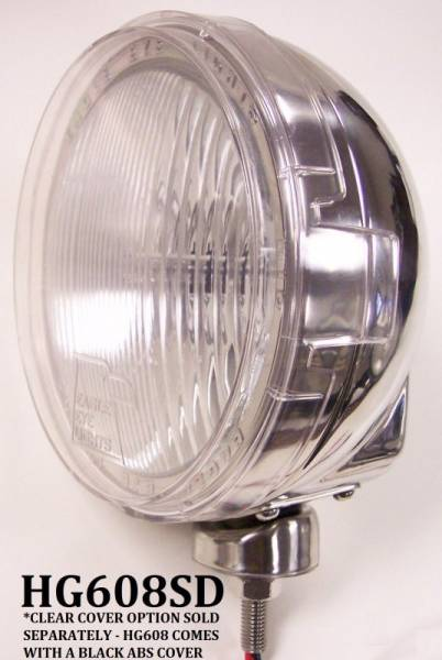 """Eagle Eye Lights - Eagle Eye Lights HG608SD 6 3/16"""" Stainless Steel 12V 100W Superwhite Driving Clear Slim Round Halogen Off Road Light with ABS Cover Each"""