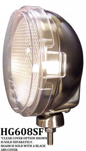 "Eagle Eye Lights - Eagle Eye Lights HG608SF 6 3/16"" Stainless Steel 12V 100W Superwhite Flood Clear Slim Round Halogen Off Road Light with ABS Cover Each"