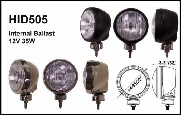 "Eagle Eye Lights - Eagle Eye Lights HID505BD 4 31/32"" Black 35W Internal Ballast HID Driving Clear Round HID Off Road Light WABS Cover Each"