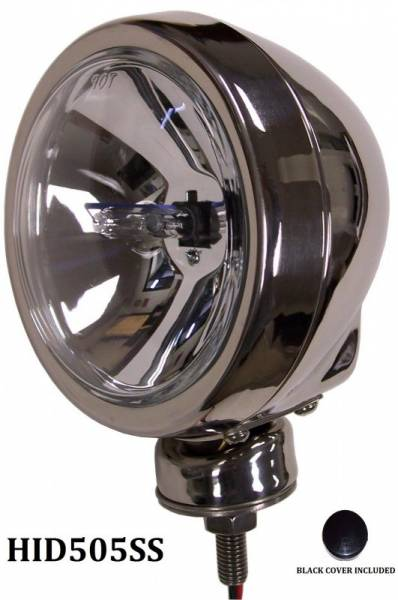 "Eagle Eye Lights - Eagle Eye Lights HID505SS 4 31/32"" Stainless Steel 35W Internal Ballast HID Spot Clear Round HID Off Road Light with ABS Cover Each"