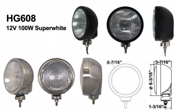 "Eagle Eye Lights - Eagle Eye Lights HID608BF50W 6 3/16"" Black 50W Internal Ballast HID Flood Clear Round HID Off Road Light with ABS Cover Each"