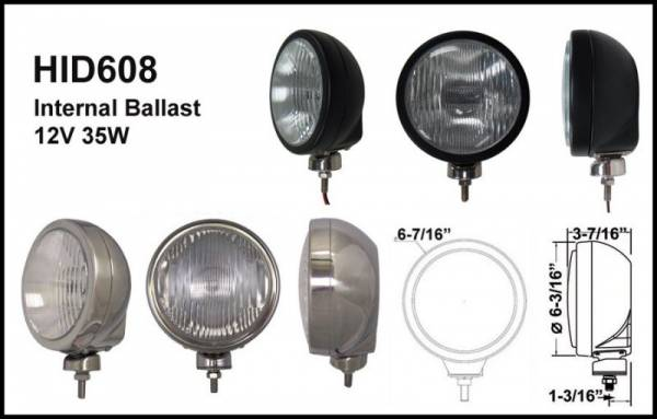 "Eagle Eye Lights - Eagle Eye Lights HID608SD 6 3/16"" Stainless Steel 35W Internal Ballast HID Driving Clear Round HID Off Road Light with ABS Cover Each"