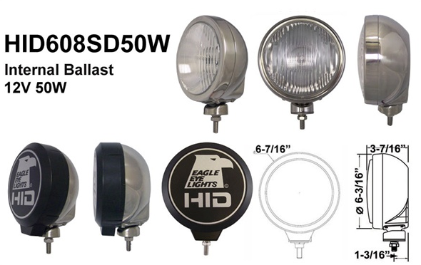 "Eagle Eye Lights - Eagle Eye Lights HID608SD50W 6 3/16"" Stainless Steel 50W Internal Ballast HID Driving Clear Round HID Off Road Light with ABS Cover Each"