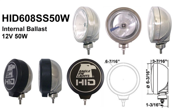 "Eagle Eye Lights - Eagle Eye Lights HID608SS50W 6 3/16"" Stainless Steel 50W Internal Ballast HID Spot Clear Round HID Off Road Light with ABS Cover Each"