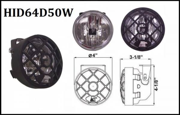 """Eagle Eye Lights - Eagle Eye Lights HID64D50W 4"""" Black Resin 50W External Ballast HID Driving Clear Round HID Off Road Light with Grille Guard Each"""