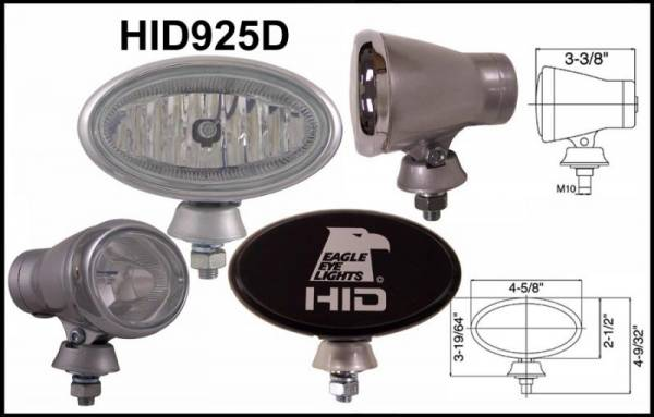 "Eagle Eye Lights - Eagle Eye Lights HID925D50W 4 5/8"" Aluminum DieCast SILVER 50W External Ballast HID Driving Clear Oval HID Off Road Light with ABS Covers Each"