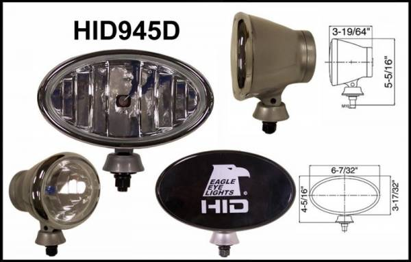 "Eagle Eye Lights - Eagle Eye Lights HID945D50W 6 7/32"" Aluminum DieCast SILVER 50W External Ballast HID Driving Clear Oval HID Off Road Light with ABS Cover Each"