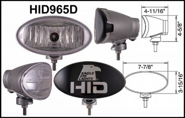 "Eagle Eye Lights - Eagle Eye Lights HID965D 8"" Aluminum DieCast SILVER 35W External Ballast HID Driving Clear Oval HID Off Road Light with ABS Cover Each"