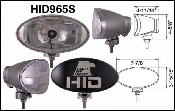 "Eagle Eye Lights - Eagle Eye Lights HID965S 8"" Aluminum DieCast SILVER 35W External Ballast HID Spot Clear Oval HID Off Road Light with ABS Cover Each"