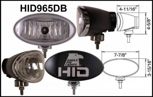 "Eagle Eye Lights - Eagle Eye Lights HID965DB 8"" Aluminum DieCast Black 35W External Ballast HID Driving Clear Oval HID Off Road Light with ABS Cover Each"