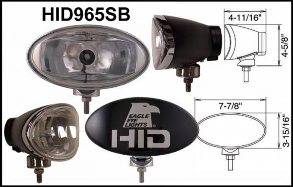 "Eagle Eye Lights - Eagle Eye Lights HID965SB 8"" Aluminum DieCast Black 35W External Ballast HID Spot Clear Oval HID Off Road Light with ABS Cover Each"