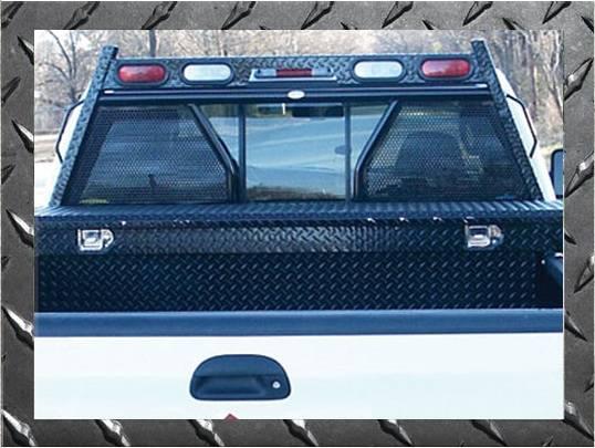 Frontier Gear - Frontier Gear 500-10-4004 Diamond Series Headache Rack Toyota Tundra Crew Cab Open Punch Plate With Lights 2007-2018