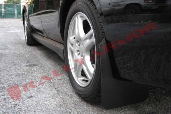 Rally Armor - Rally Armor MF8-BAS-BLK Basic Series Black Mud Flap with Black Rally Armor Logo 2007-2012 Mitsubishi Lancer ES/DE/GTS/Ralliart