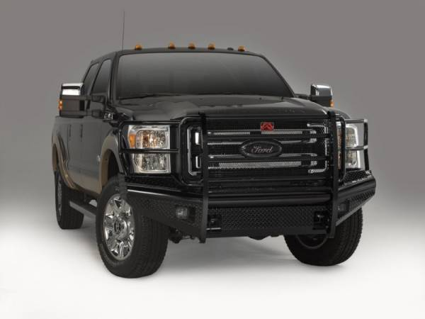 Fab Fours - Fab Fours FS11-S2560-1 Black Steel Front Bumper Full Grille Guard Ford F250/F350 2011-2016
