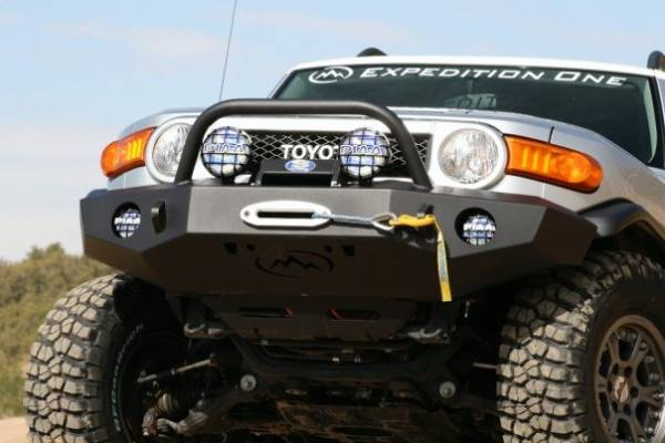 Expedition One - Expedition One FJCFB100_H Trail Series Front Bumper with Standard Center Hoop Bare Toyota FJ Cruiser Bare Steel