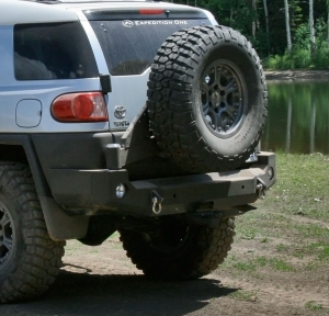 Expedition One FJCRB100_STC Trail Series Rear Bumper with Tire Carrier for Toyota FJ Cruiser 2010-2017 - Bare Steel