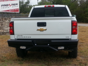 Truck Bumpers - Frontier Gear - Frontier 100-20-7013 Rear Bumper with Sensor Holes and Lights Chevy Silverado 2500HD/3500 2007-2010