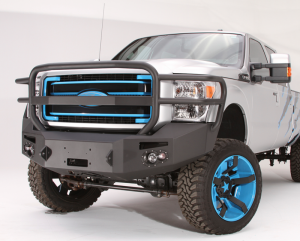 Truck Bumpers - Fab Fours Premium - Front Winch Bumper with Full Grille Guard