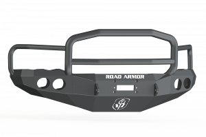 Clearance Bumpers - Road Armor - Road Armor 44045B Front Stealth Winch Bumper with Round Light Holes + Lonestar Guard Dodge Ram 2500/3500 2003-2005