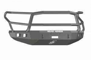 Toyota Tundra Bumper - Road Armor - Road Armor 914R5B Front Stealth Winch Bumper with Square Light Holes + Lonestar Guard Toyota Tundra 2014-2016