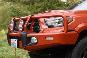 Truck Bumpers - ARB Bumpers - ARB 4x4 Accessories - ARB 3423150K Front Deluxe Bull Bar Winch Bumper with Light Kit Toyota Tacoma 2016-2017