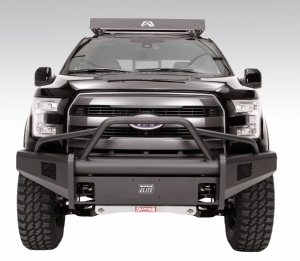 Truck Bumpers - Fab Fours Black Steel Elite - Ford F150 2015-2017