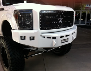 """Truck Bumpers - Fusion Bumpers - Fusion 1516GMCHDFB Front Bumper with Dual Fog Light Holes and 10"""" Light Bar Center Hole GMC Sierra 2500HD/3500 2015-2018"""