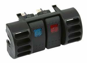 Interior Accessories - Electrical Switch Panels - Daystar - Daystar KJ71036BK Jeep Wrangler TJ 1987-1996 Upper Air Vent Switch Pod with 2 Rocker Switches Blue and Red
