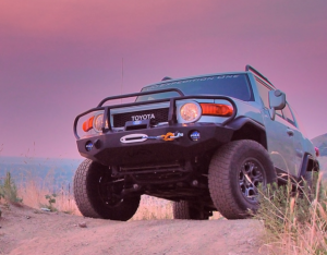 Expedition One FJCFB100_BB Trail Series Base Front Bumper with Full Grille Guard for Toyota FJ Cruiser 2007-2010 - Bare Steel